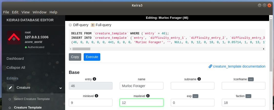Keira3 - full sql query